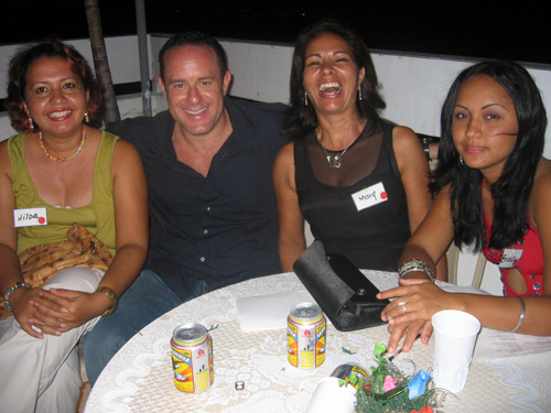 A happy client enjoying the social with Colombian brides